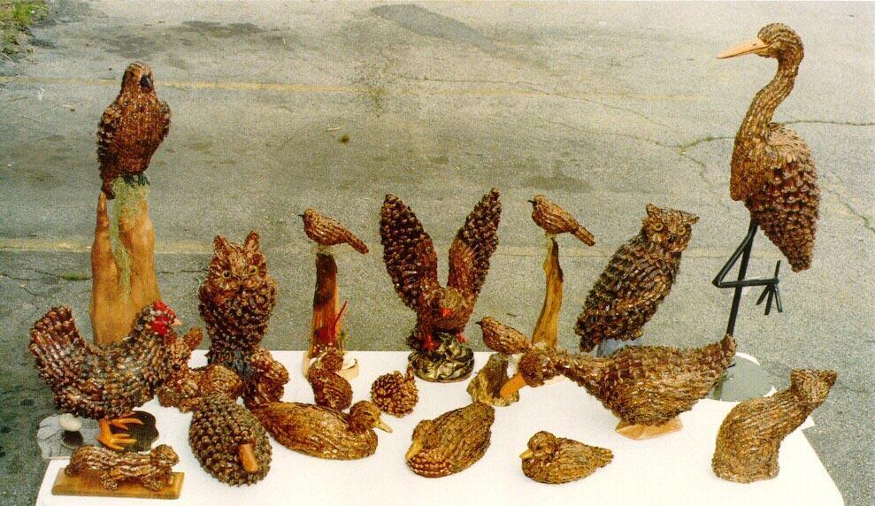 Jeanne's Pinecone Animals: Lifelike Animal Figurines Covered With Pine Cone Scales